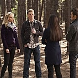 Candice Accola as Caroline, Zach Roerig as Matt, Nina Dobrev as Elena, and Paul Wesley as Stefan in The Vampire Diaries.  Photo courtesy of The CW