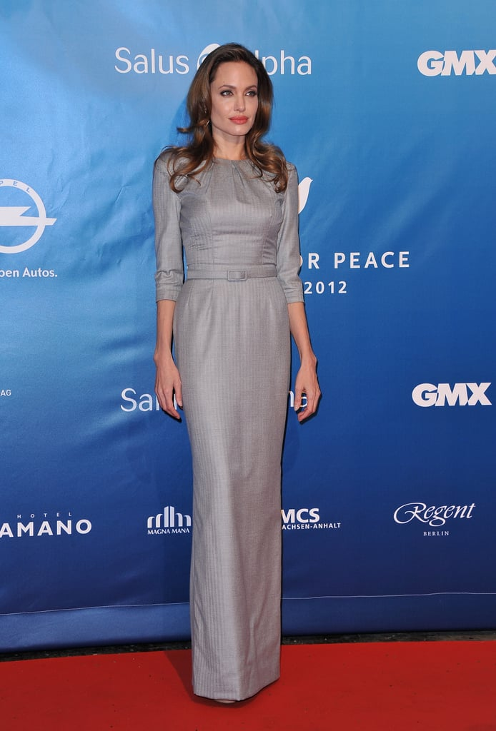 Angelina opted for a demure dress by Ralph & Russo for the Cinema For Peace Gala in 2012.