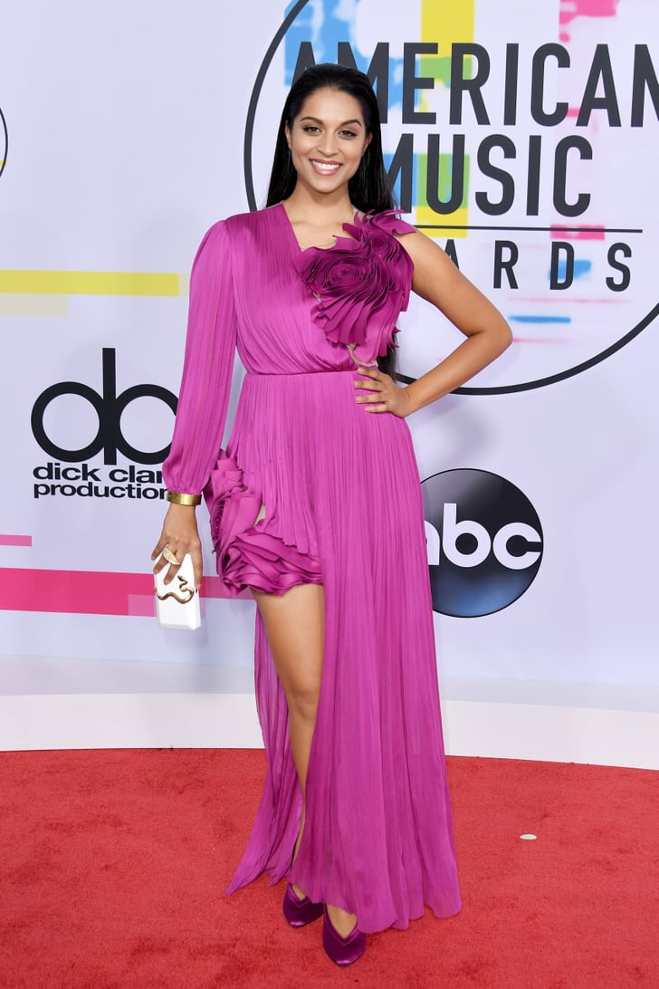 Lilly Singh American Music Awards Red Carpet Dresses