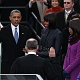The president was sworn in, while wife Michelle and daughters Sasha and Malia looked on.