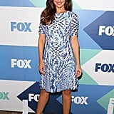 Minka Kelly let the bold print of her fit-and-flare dress do the talking at the Fox party, keeping her accessories to a bare minimum.