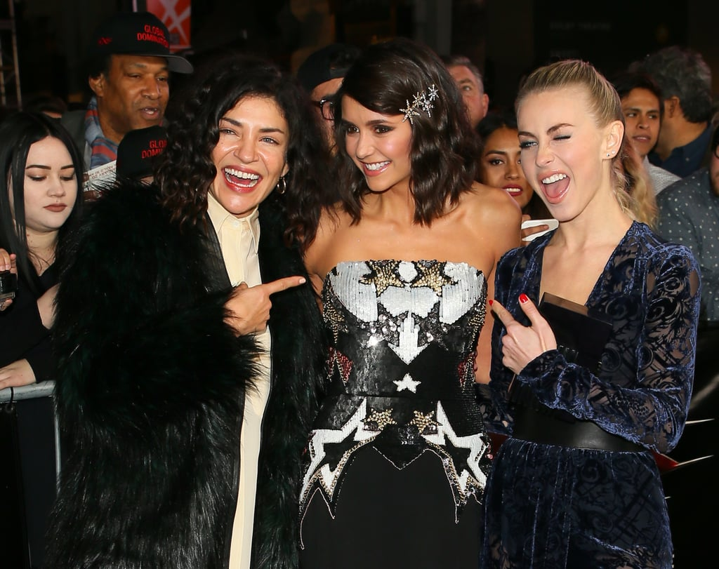 Nina Dobrev was surrounded by her best friends when she attended the LA premiere of her new film, xXx: Return of Xander Cage, on Thursday. The actress, who famously left The Vampire Diaries at the end of season six, just couldn't contain her joy as she brought Julianne Hough and Gossip Girl's Jessica Szohr along as her dates. Aside from throwing a few silly faces for the cameras, Nina and Julianne also showed a little leg as they flaunted their dresses' high slits on the red carpet. Can we please join this amazing friend group?       Related:                                                                This Theory About Nina Dobrev's Return to The Vampire Diaries Makes a Lot of Sense                                                                   Nina Dobrev and Julianne Hough Put Their Adorable Friendship on Full Display at the AMAs                                                                   25 Times You Wished You Were Friends With Nina Dobrev and Julianne Hough