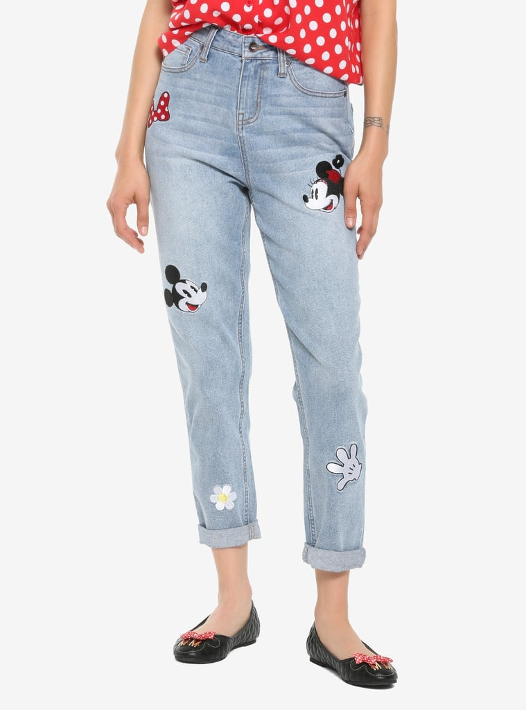 Her Universe Disney Minnie Mouse & Mickey Mouse Embroidered Mom Jeans
