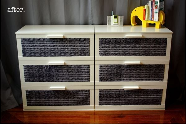 incorporate fabric 11 ways to transform a dresser popsugar home. Black Bedroom Furniture Sets. Home Design Ideas