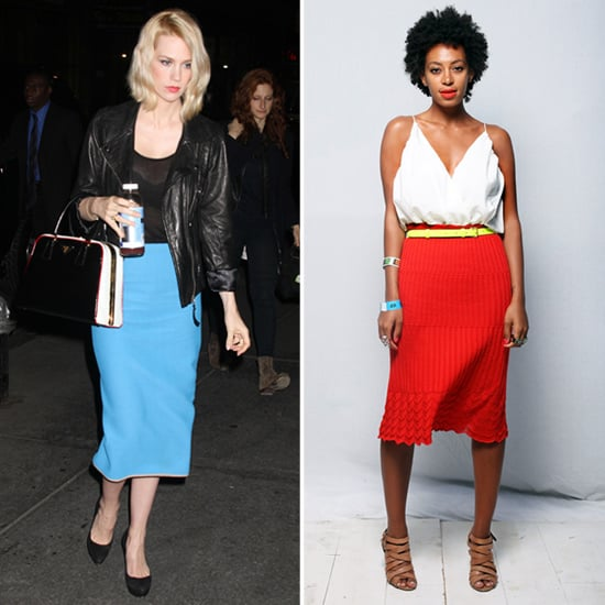 January Jones Blue Pencil Skirt