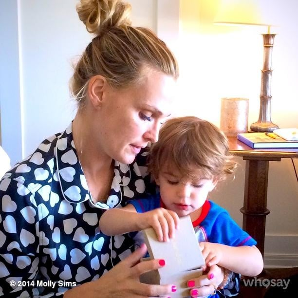 Molly Sims opened up a surprise Mother's Day gift from her son, Brooks Stuber. Source: Instagram user mollybsims