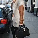 Kate Moss rocked leather and fur.