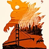 Tim Weakland uses the terrifying silhouette of Godzilla to show the destruction and devastation of San Francisco in this print ($23-$47 for various sizes).