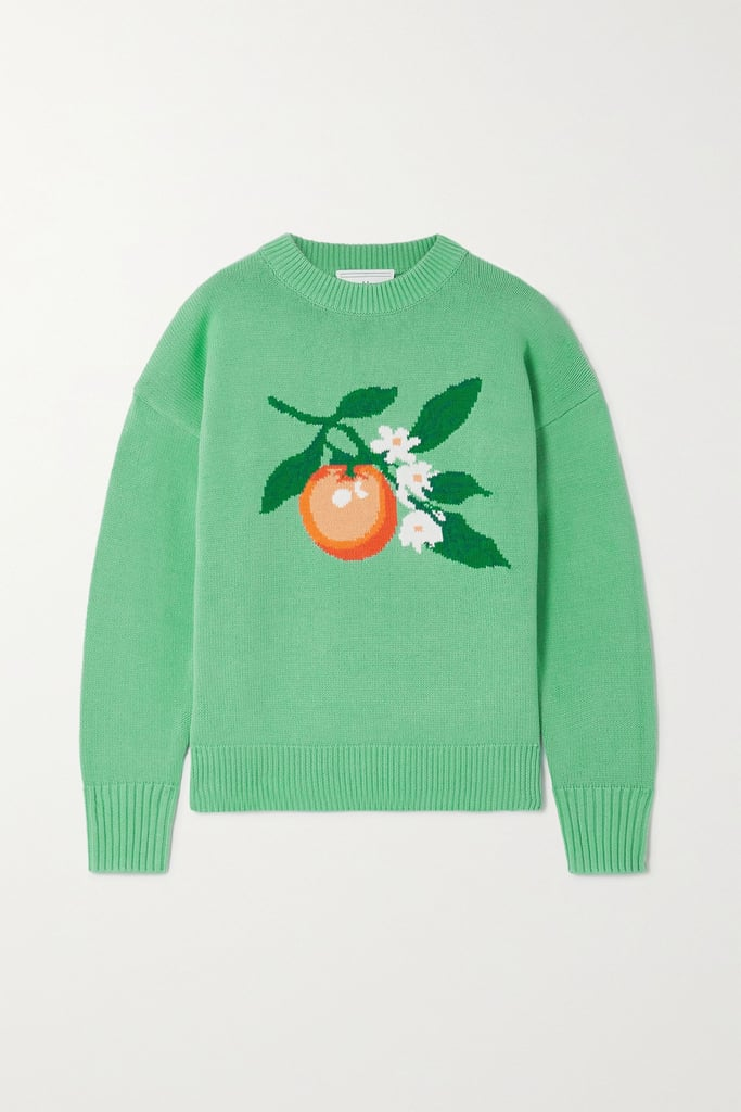 Casablanca Green Intarsia Cotton Sweater