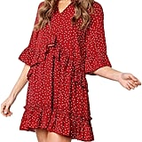 Mitilly Women's V-Neck Ruffle Polka-Dot Pocket Loose Swing Casual Short T-Shirt Dress