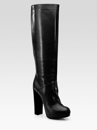 Black Pheonica Leather Knee-High Platform Boots ($600)