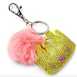 Bari Lynn Crown Emoji & Fox Fur Pom-Pom Keychain