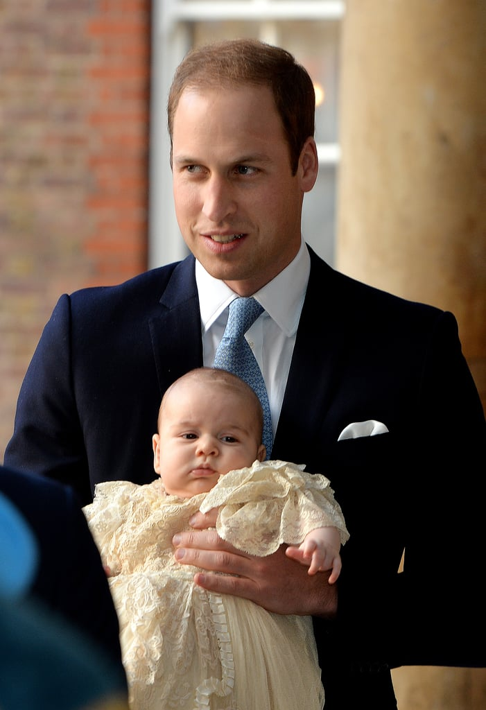 Prince William held onto little Prince George.