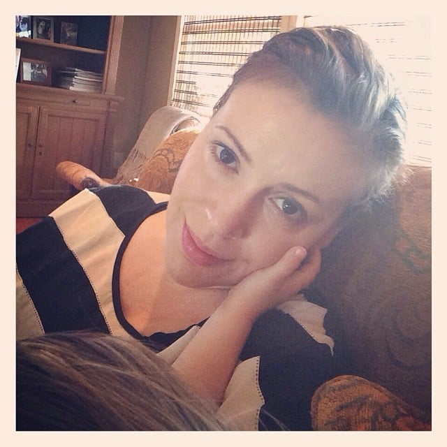 Little Milo Langdon kept close tabs on his mom, Alyssa Milano, during nap time.  Source: Instagram user milano_alyssa