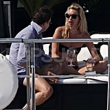Kate Moss and Jamie Hince relaxed on the water.