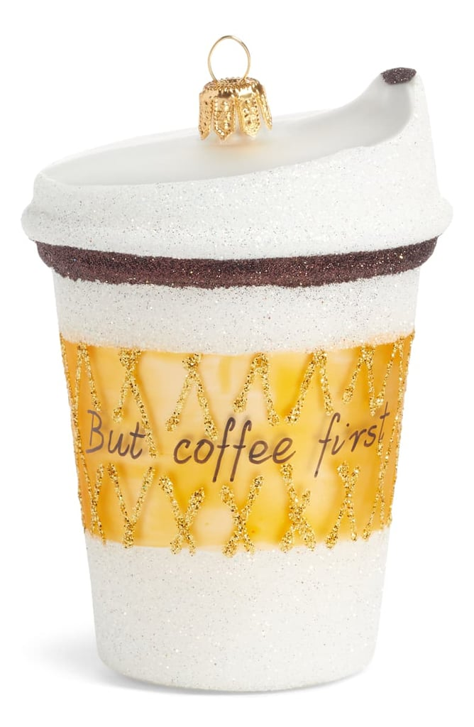 But Coffee First Handblown Glass Coffee Cup Ornament