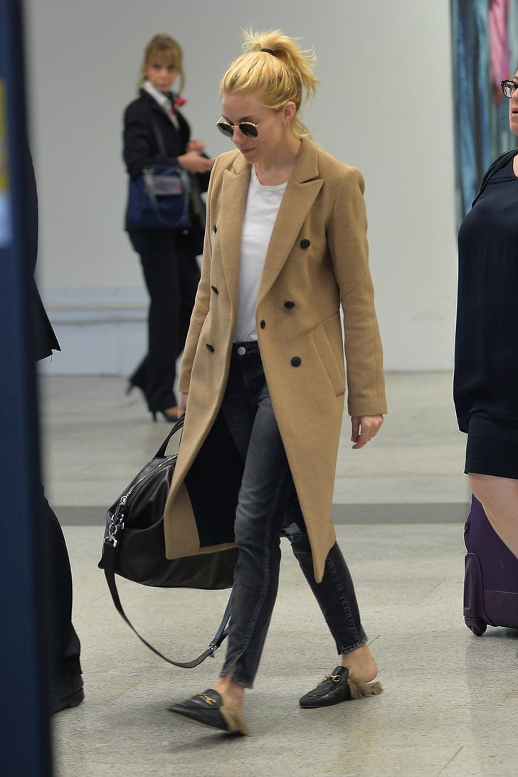 Sienna Miller Wore The Cozy Slip Ons To The Airport