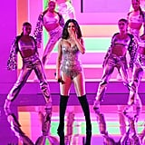 "Selena Gomez Singing ""Look at Her Now"" at the AMAs in a Silver Mosaic Bodysuit"