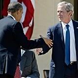 Practicing their handshake in 2013