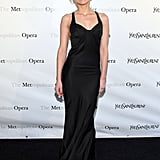 Amber Heard wore a sleek black dress to the Metropolitan Opera gala in NYC.