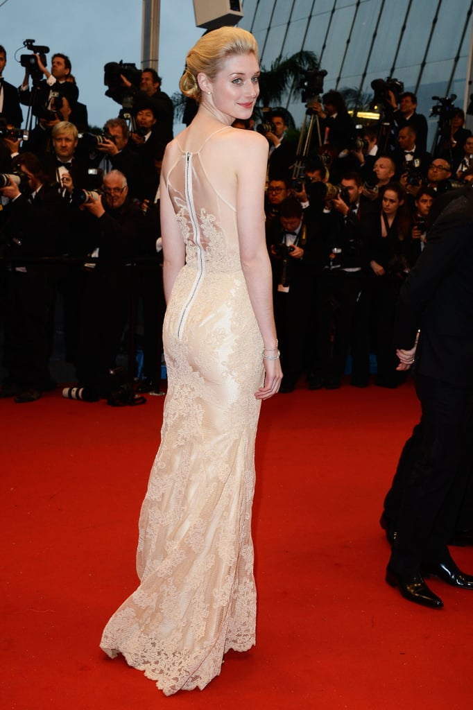 Elizabeth Debicki showed off the back details of her dress.