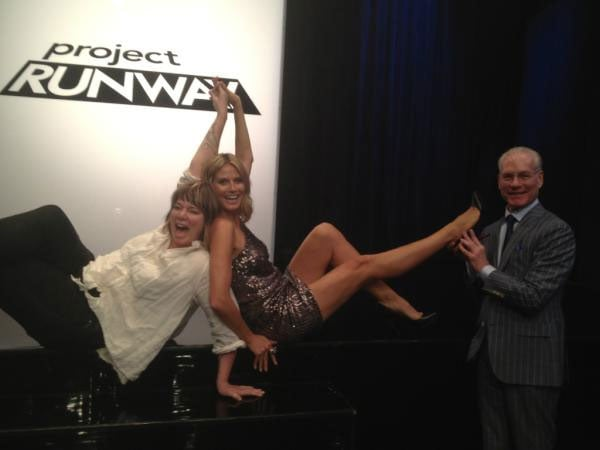 Nice pins Heidi Klum! The Project Runway host kicked up her heels on set.