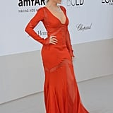 Kylie Minogue chose a red gown for the amfAR Cinema Against AIDS gala.