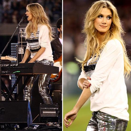 Pictures of Delta Goodrem in Silver Pants Performing at State of Origin 2012: See Her Look From All Angles!