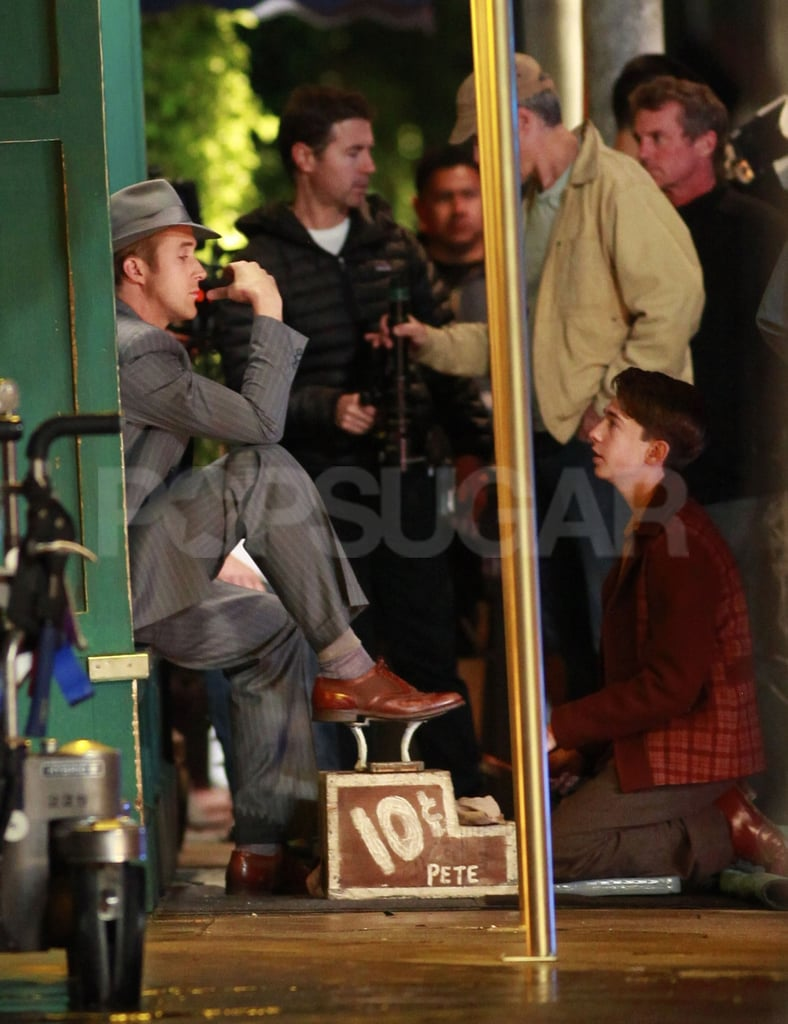 Ryan Gosling on the set of Gangster Squad.