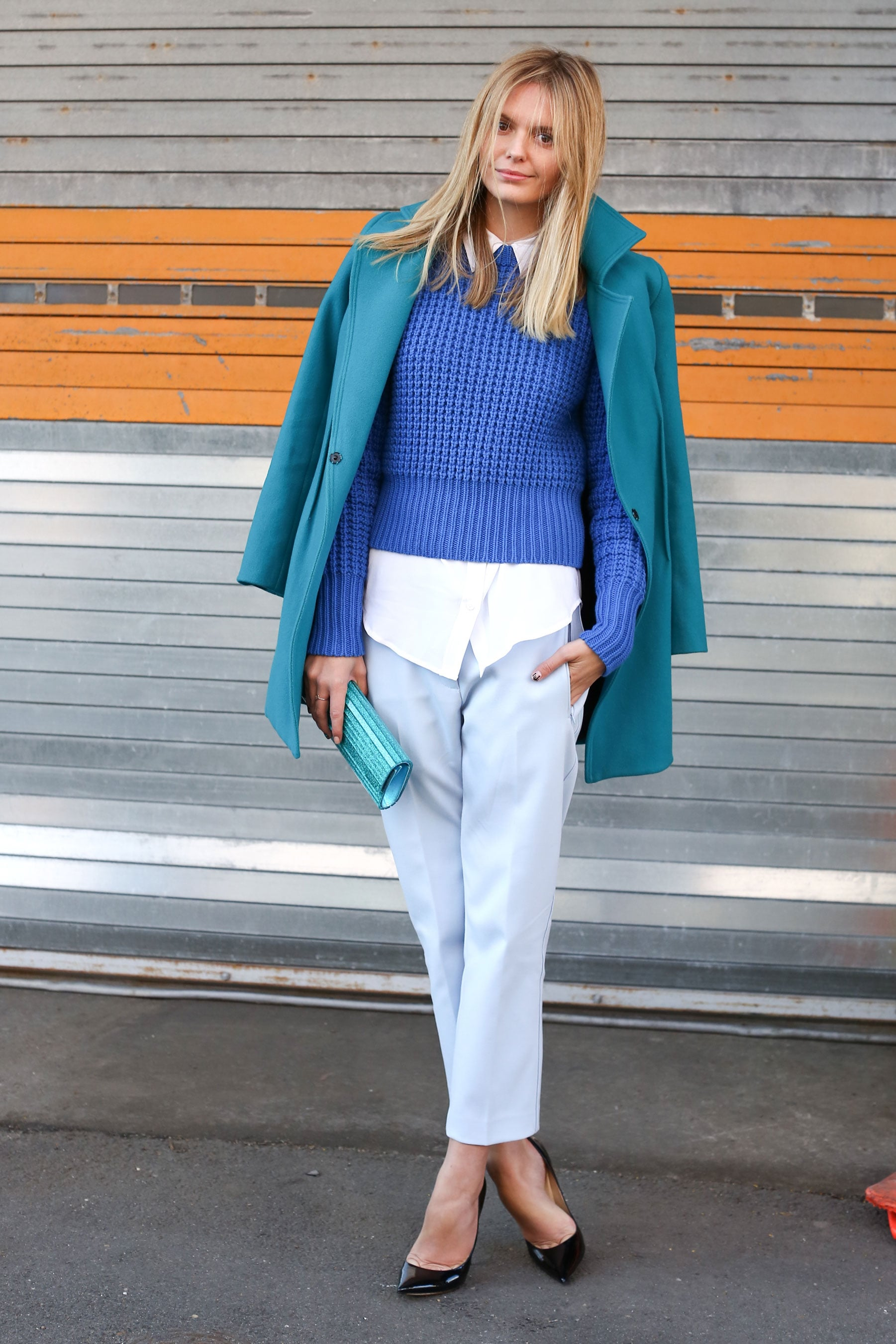 Experiment with color and layering to pep up the basic button-down and pants combo.