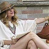 Alexis served up a festival-ready look, complete with a fedora and Chloe bag, while lounging at the motel.