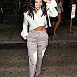 Kourtney Kardashian Off White Cropped Shirt Aug 2018