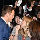 Chris Pratt Sneaks In a Quick Kiss From Anna Faris at His Movie Premiere