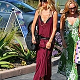 Rachel Zoe wore a maxi dress and wide-brimmed Panama hat.