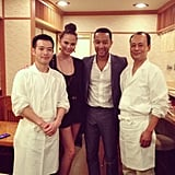 Chrissy Teigen and John Legend posed with famed sushi chef Jiro Ono's son, Tadashi. Source: Instagram user johnlegend