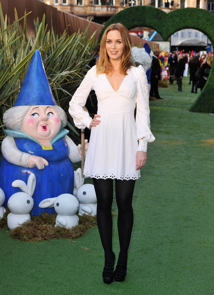 Emily Blunt stepped out in white and showed off a lighter hair color at the UK premiere of Gnomeo & Juliet in London yesterday. She was solo on the green carpet since her husband, John Krasinski, stayed in LA to support The Office at last night's Screen Actors Guild Awards. Emily's producer Elton John stuck by his partner, David Furnish, on their way into the screening. Recently single Elizabeth Hurley also turned out with her son, Damian, to see the animated 3D movie, which they loved.
