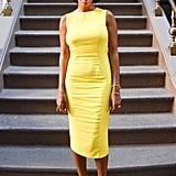 Solange Knowles looked bright, sunny, and seriously sophisticated in this Sportmax sheath at Max Mara's garden party. Source: Joe Schildhorn /BFAnyc.com