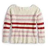 Oversized Boat Neck Sweater in Pristine with Rose Shadow Stripe