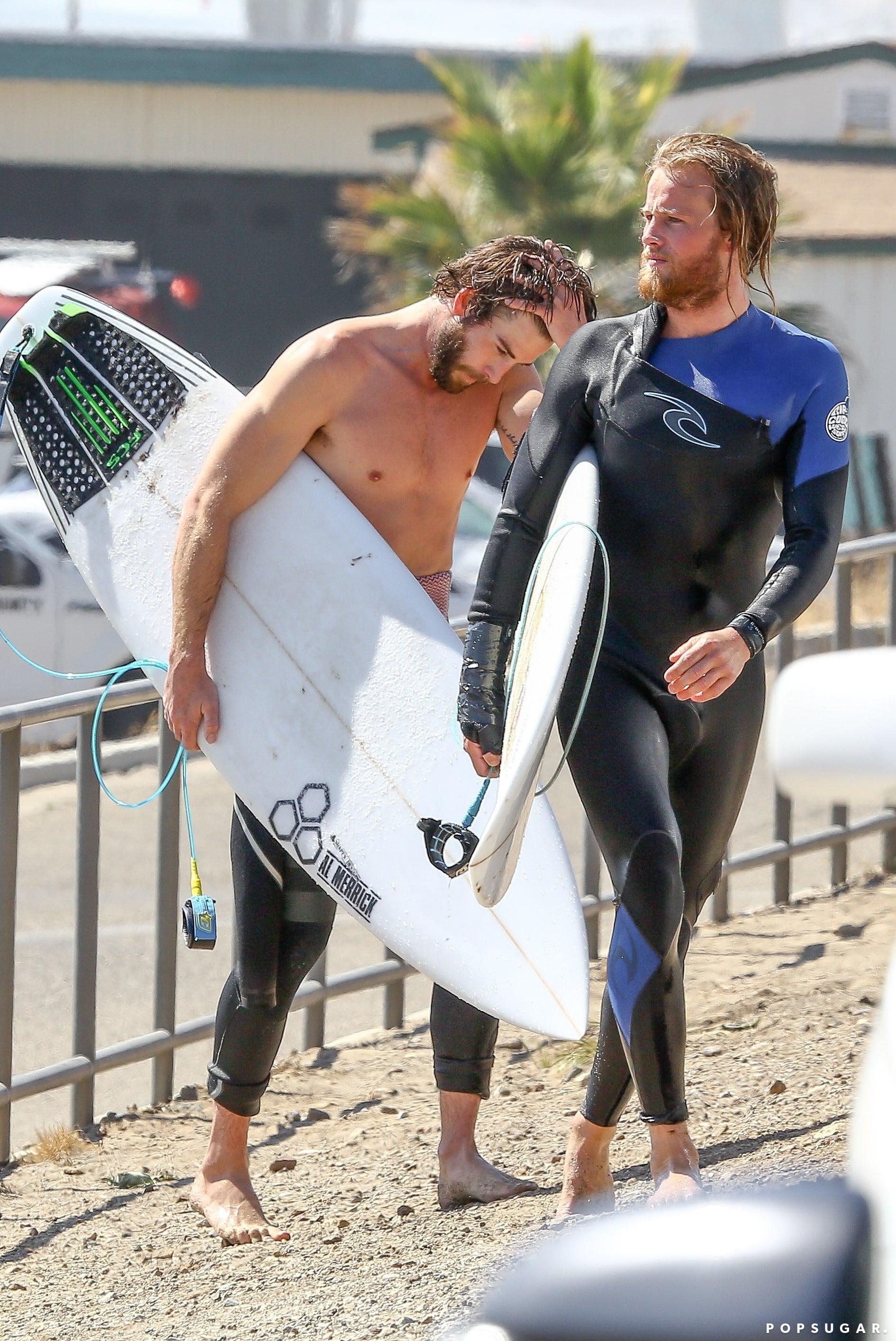Liam Hemsworth Surfing In Malibu May 2017 Popsugar Celebrity