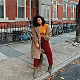 Cranberry Slacks With a Bright Turtleneck, Teddy Bear Coat, and Suede Booties