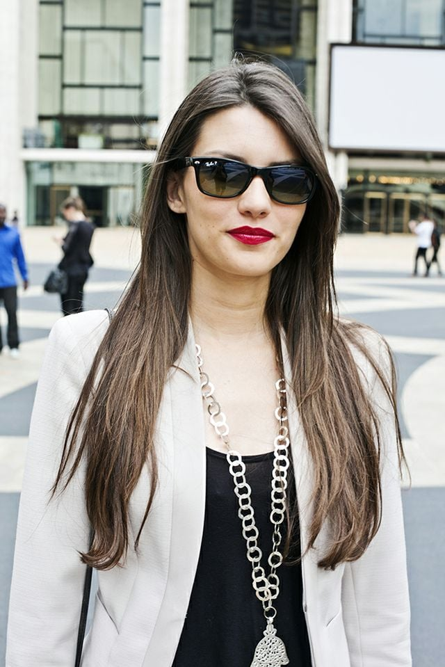 When in doubt, toss on red lipstick and some dark shades and let your hair down. Photo by Caroline Voagen Nelson