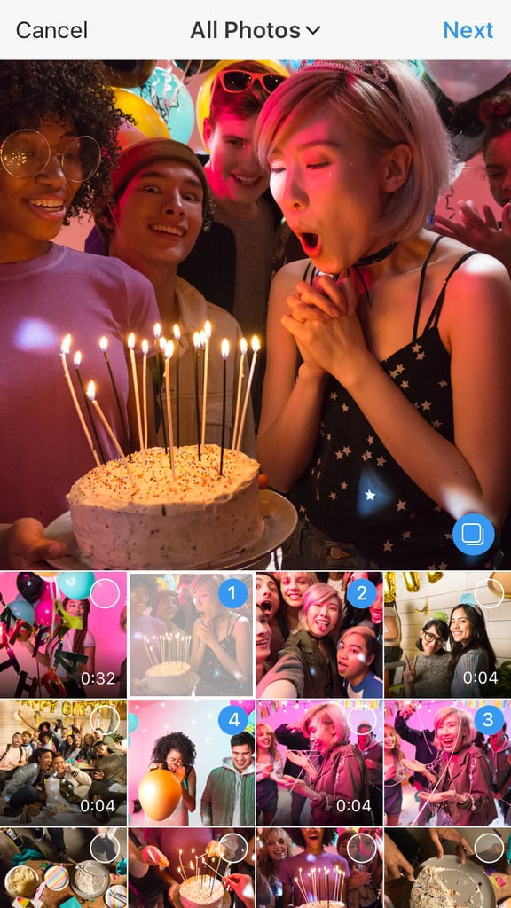 Tap the upload icon and then tap the small box icon to choose several photos and videos.