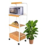 Metal Microwave Cart in White