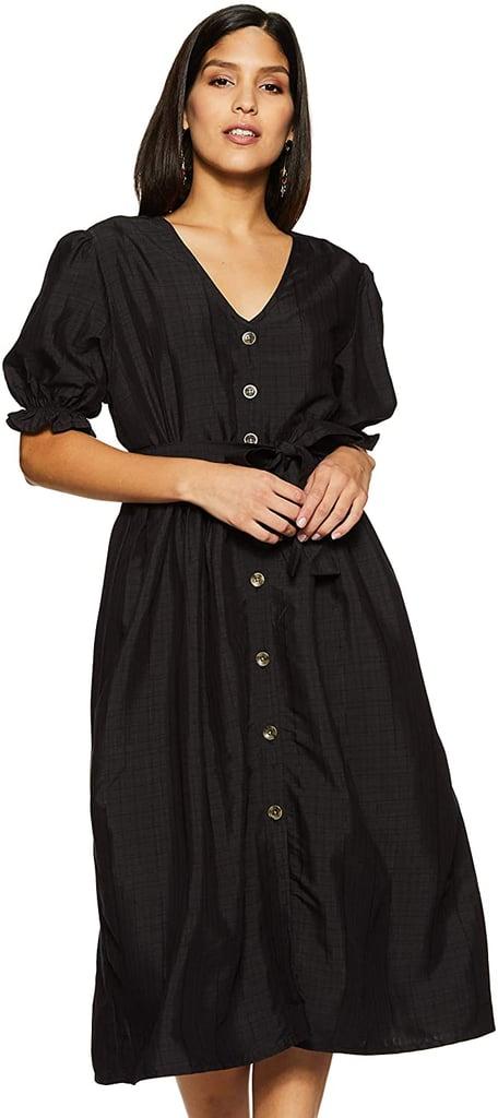 Serene Bohemian Puff-Sleeve Midi Dress