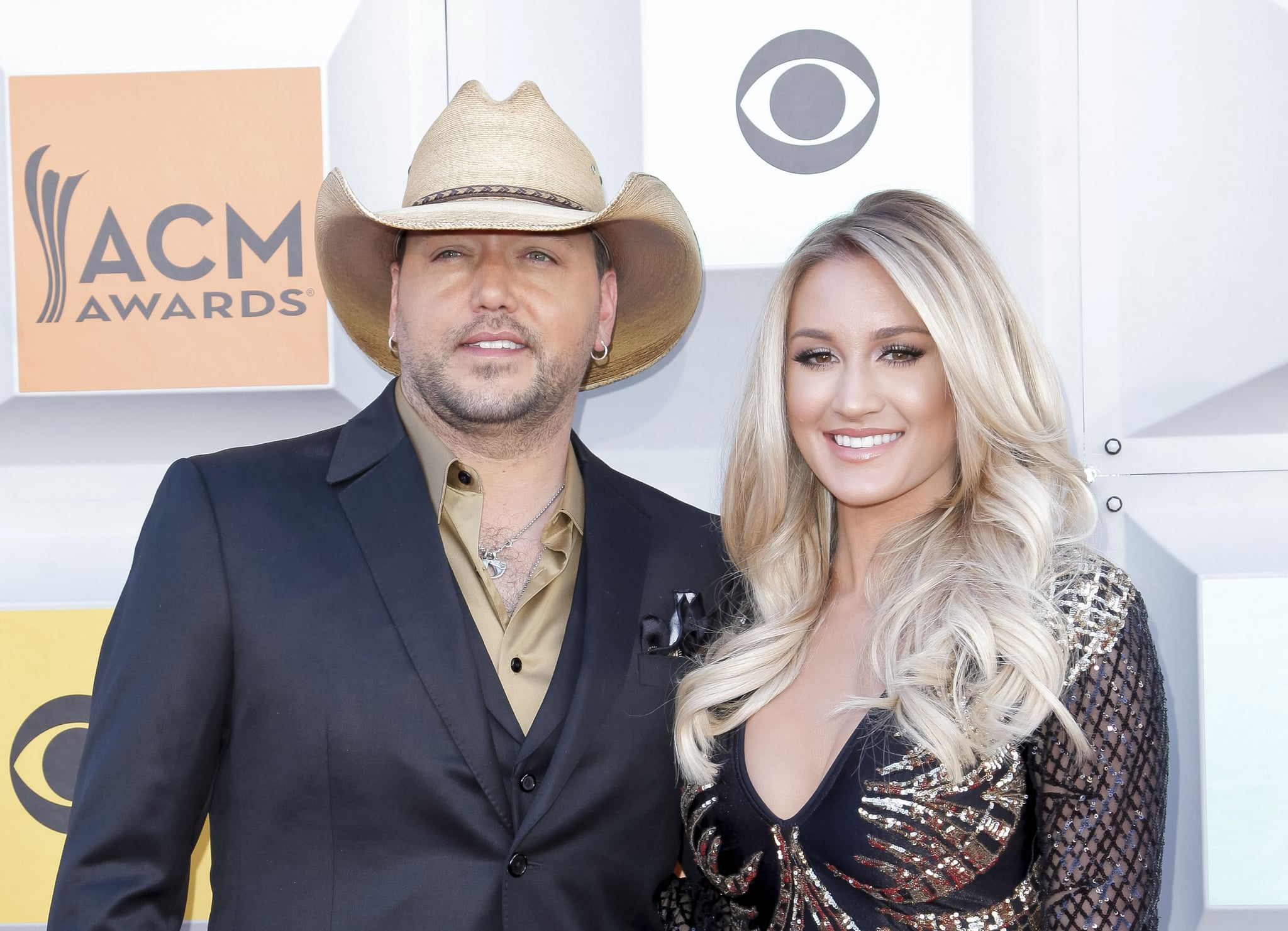 LAS VEGAS, NEVADA - APRIL 03:  (L-R) Jason Aldean and Brittany Kerr attend the 51st Academy of Country Music Awards at MGM Grand Garden Arena on April 3, 2016 in Las Vegas, Nevada.  (Photo by Tibrina Hobson/Getty Images for TheWrap)