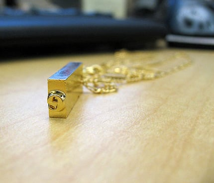 Single Letterpress Necklace — Gold Plate ($60)
