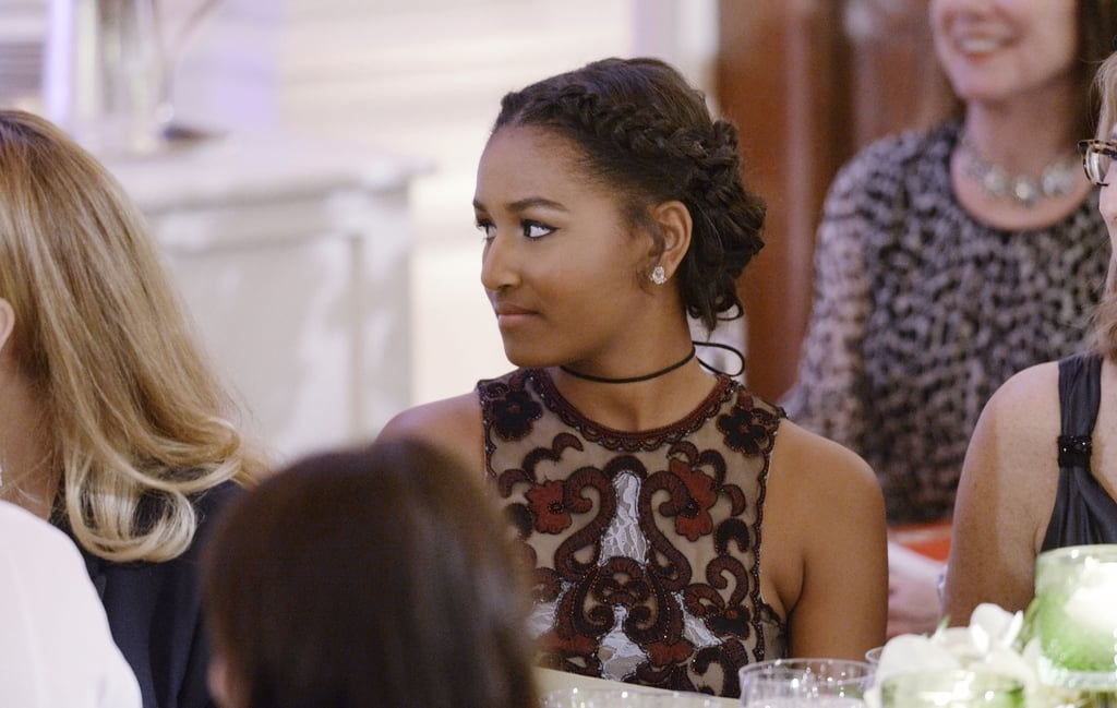 Sasha and Malia Obama at White House State Dinner 2016