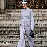 Attract eyes down South when you work metallic and Lucite mules with a light color like lavender.