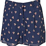 With a fun, girlie print like this you'll need little else but a white t-shirt and maybe a playful pair of platforms for a sweet weekend look.  Topshop High Waist Split Heart Shorts ($66)