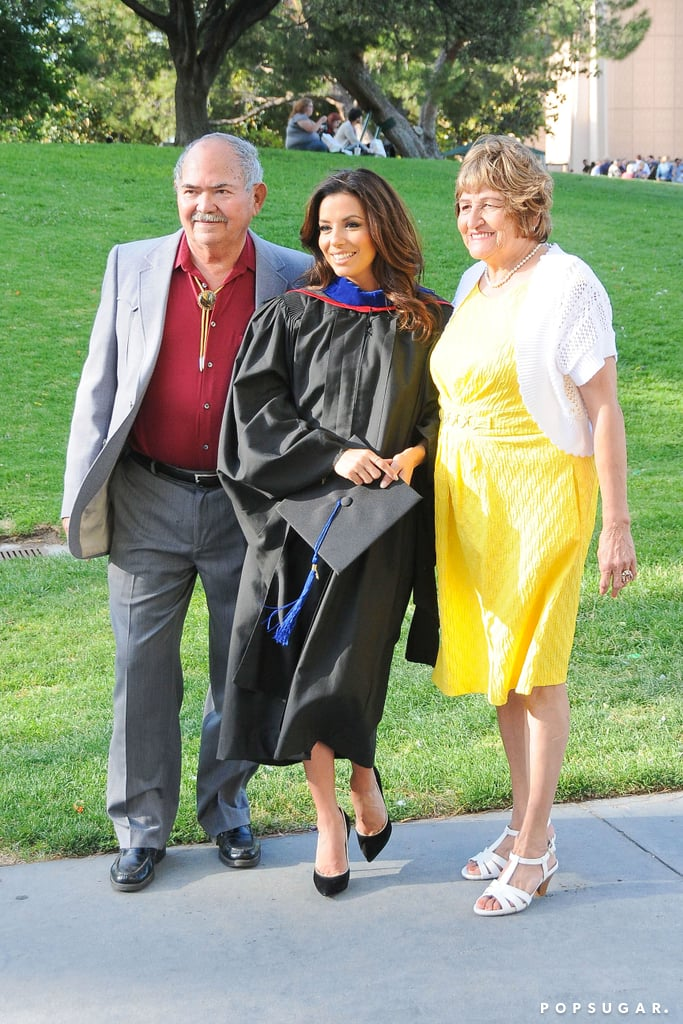 Eva Longoria had the support of her parents at her graduation.